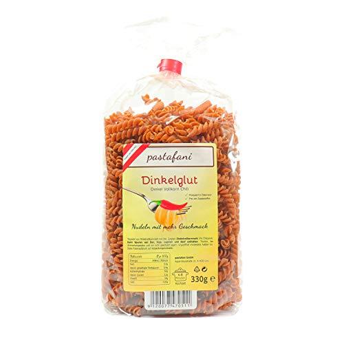 pastafani Dinkelglut 330g - Dinkel-Vollkorn Chili Spiralen - Scharfe Nudeln mit Chilli-Geschmack. Regionale Pasta-Fusilli aus natürlichen, hochwertigen Zutaten ohne Aroma- oder Zusatzstoffe!