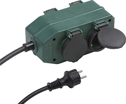 Meister Steckdosen-Block 4-fach - 2 m Kabel - Gummischlauchleitung - IP44 Außenbereich / Verteilersteckdose / Feuchtraum-Steckdosenverteiler / Außensteckdose / Outdoor Stromverteiler / 7430940