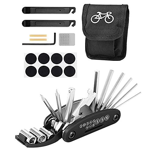 Herramienta reparación bicicletas 16 en 1, kit de bicicleta multifunción plegable portátil con kit reparación y palanca deneumáticos, kit reparación neumáticos pinchados con bolsa de almacenamiento