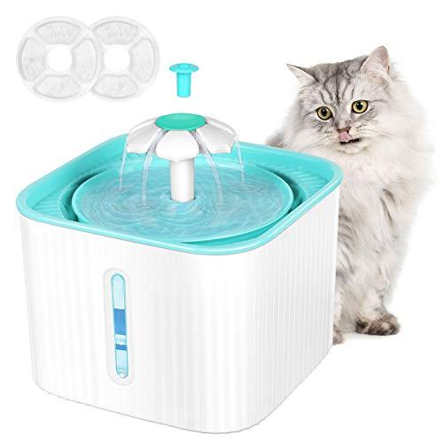 MGRETT Katzenbrunnen, Katzen Trinkbrunnen, Trinkbrunnen für Hunde, Ultra Leise Katzenbrunnen mit Wasserstandsfenster & LED-Licht, Automatisch Katzenbrunnen für Katzen mit 2 PCS Aktivkohlefilter