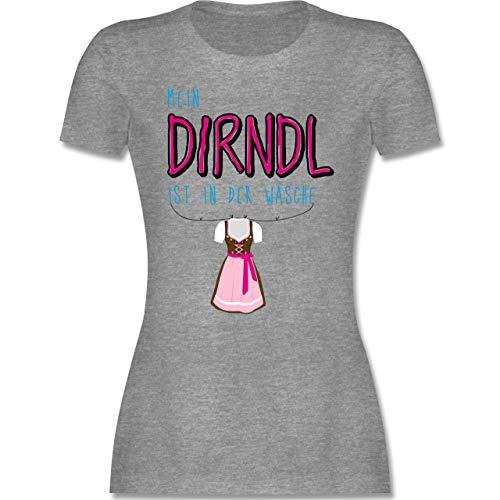Oktoberfest & Wiesn Damen - Mein Dirndl ist in der Wäsche - XL - Grau meliert - Oktoberfest Tshirt Damen - L191 - Tailliertes Tshirt für Damen und Frauen T-Shirt