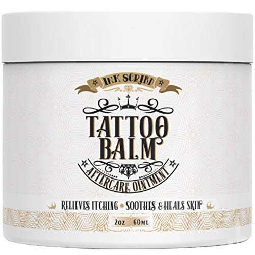 Premium Tattoo Aftercare Healing Balm Ointment - Ink Scribd - Relieves Itching, Soothes, Heals - Tattoo Intensifying Cream with All Natural and Anti-inflammatory Herbal Ingredients - Tattoo Care (2oz)