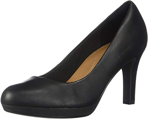 Clarks Women's Adriel Viola Dress Pump, Black Leather, 7 W US