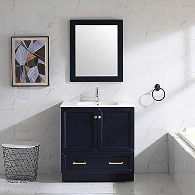 "Wonline 32"" Blue Bathroom Vanity and Sink Combo Cabinet Undermount Ceramic Vessel Sink Chorme Faucet Drain with Mirror Vanities Set"
