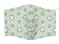 洗える 立体型 布マスク 大人用 Lサイズ 日本製 グリーン 和風 和柄 1317