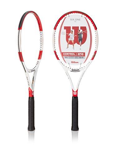 Wilson Raqueta de Tenis, Six.One 95, Unisex, Jugadores Expertos, Rojo/Gris, Tamaño de empuñadura L2
