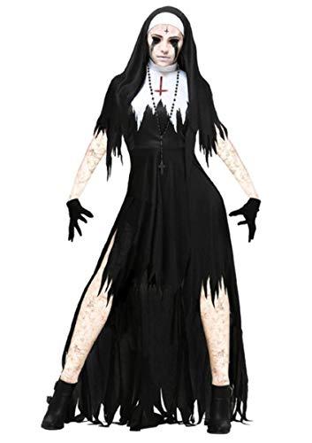 Emin Damen Nonnen Kostüm Kleid Horror Blutig Zombie Kostüm Faschingskostüme Cosplay Halloween Party Karneval Fastnacht Kleid für Erwachsene Kostümfest Jesus Christus Missionar Pastor Uniform