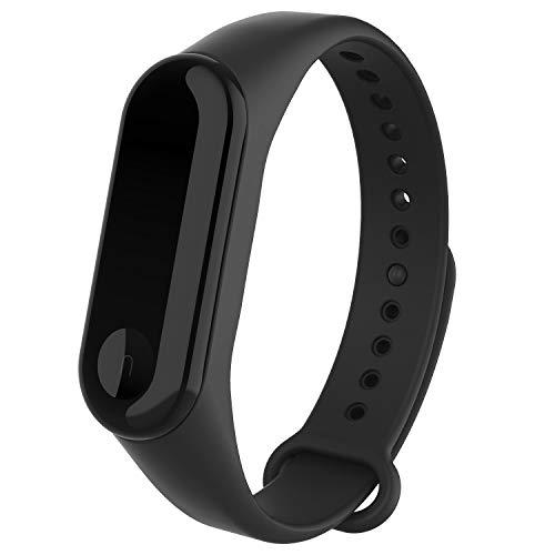 WASPO für Mi Band 4 Armband, Silikon Ersatzband Kompatibel mit Xiaomi Mi Band 3/4 NFC Mehrfarbige Sportarmbänder Damen Herren (Schwarz)