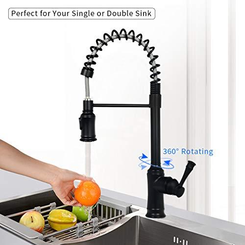 Spültischarmatur Brause Ausziehbar Küchenarmatur mit Spiralfeder 360°Drehbar 2 Funktionen Wasserhahn Schwarz PHASAT KB06