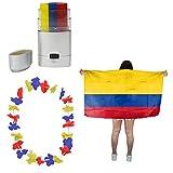 Sonia Originelli Fan-Paket-11 WM EM Fußball Fan Hawaiikette Schminkstift Poncho Farbe Kolumbien
