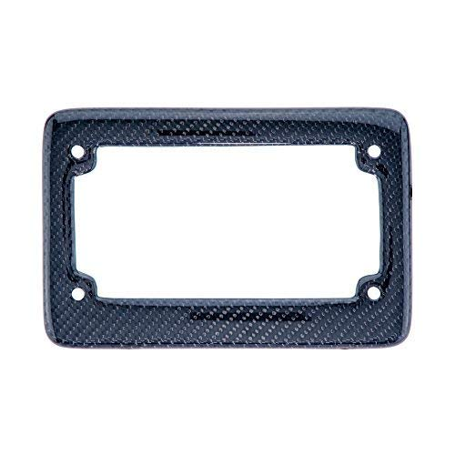 BLVD-LPF Real 100% Black Carbon Fiber Motorcycle License Plate Frame with Matching Screw Caps - 1 Frame