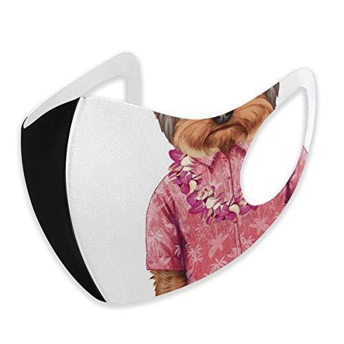 Fashion 3D Face_mask_Protect - Máscara protectora para la boca con diseño de perro en forma de perro con una camiseta rosa con imagen de Hawaian Lei Fun