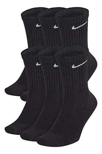 NIKE Dri-Fit Training Cotton Cushioned Crew Socks 6 PAIR Black with White Signature Swoosh Logo)...