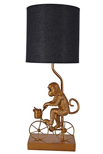Tischleuchte Radfahrer Monkey Gold Tischlampe Affe Nachttischlampe 54cm cw249 Palazzo Exklusiv