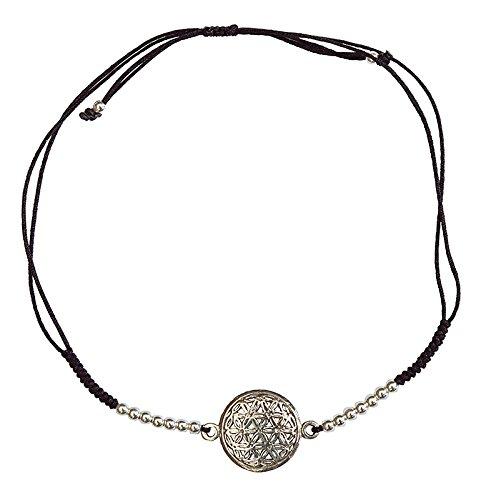Pulsera de mujer de plata 925 con 16 perlas de plata y cordón ajustable de algodón de alta calidad, elegante y espiritual, perfecta para cualquier ocasión.