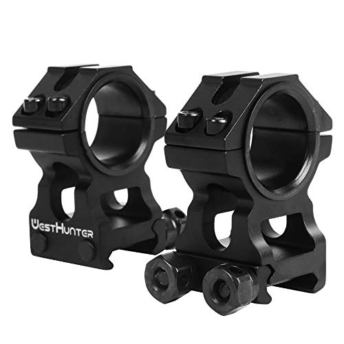 WestHunter Optics Picatinny Rifle Scope Rings, 1 in/30 mm Tactical Precision High Profile Scope Mount, Black