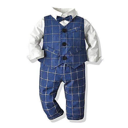 Moyikiss Studio Little Boys Tuxedos Suits Vest+Long Sleeve Shirt+Pants+Bow Tie Boy Gentleman 4Pcs Outfit (Blue, 90/18-24M)