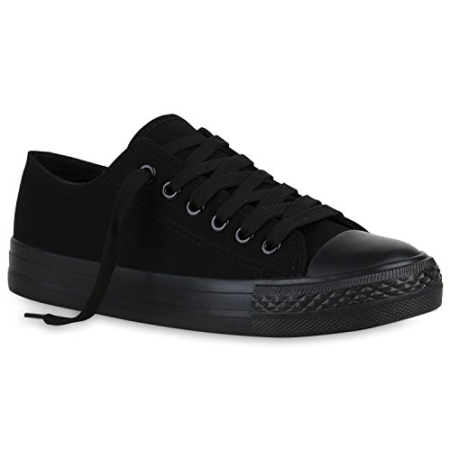 stiefelparadies Damen Sneaker Low Basic Turnschuhe Freizeit Schnürer Stoff Schuhe 158424 Schwarz Berkley 37 Flandell
