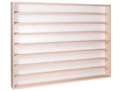 Alsino Wandvitrine Holz Regal Vitrine Setzkasten mit Scheibe (v-43) - 100 x 75,5 x 8,5-8 Ebenen mit 4 Plexiglasscheiben - Mit Montageanleitung - Kein Zusammenbau nötig