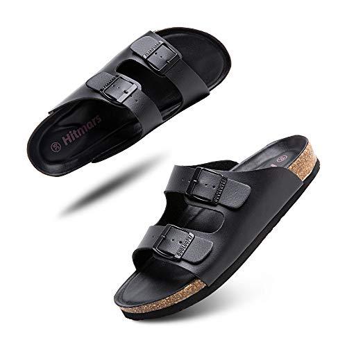 Sandalias Mujer Hombre Planas Zapatillas Verano Chanclas Con Hebilla Mules Zapatos Soporte Del Arco Comodas Negro Talla 38 EU