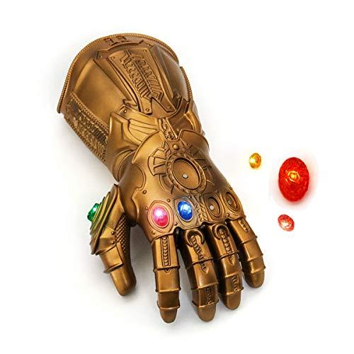 Nuwind Ewigkeitshandschuh Thanos, abnehmbare, magnetische, leuchtende Edelsteine, PVC-Handschuh für Halloween, Cosplay, als Kostüm, Requisite, für Erwachsene