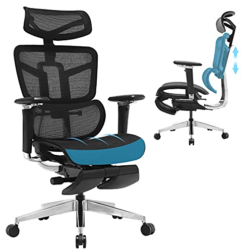 SAMOFU Ergonomic Office Chair with Foot Rest, High Back Desk Chair with 3D Adjustable Backrest, Mesh Computer Chair with 5D Armrest and Breathable Mesh Seat for Relaxation, 5 Years Warranty