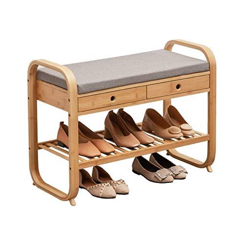 JYJ Banco de Zapatos de bambú de 2 Niveles con 2 cajones, Perchero con cojín de Asiento, Banco de Zapatos, gabinete para Zapatos para Pasillo, Sala de Estar, Dormitorio (tamaño : Pequeña)