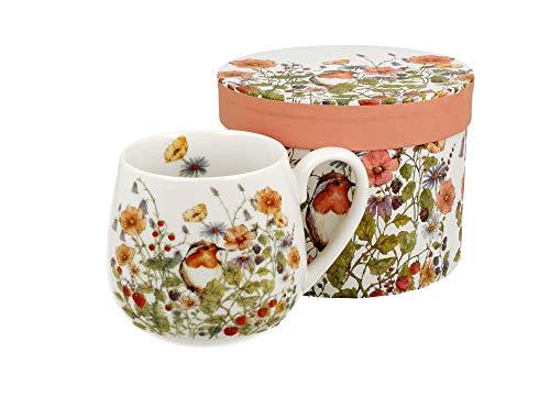 Tee-Tasse Kaffeetasse Kaffeebecher Teebecher Variante OHNE Sieb und Deckel Porzellan Teetasse bauchig Geschenk-Tasse Blumen Cup 400 ml von DUO in Geschenkbox Becher (Rotkehlchen OHNE Filter)