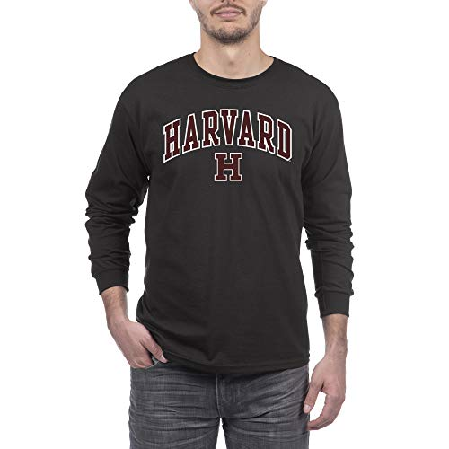 Elite Fan Shop NCAA Herren Langarmshirt Alt Arch, Herren, Long Sleeve T Shirt Alt Arch, Harvard Crimson Black, Large