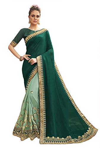 Triveni Green Color Chanderi Silk & Georgette Party Wear Zari & Stone Work Saree With Blouse Piece