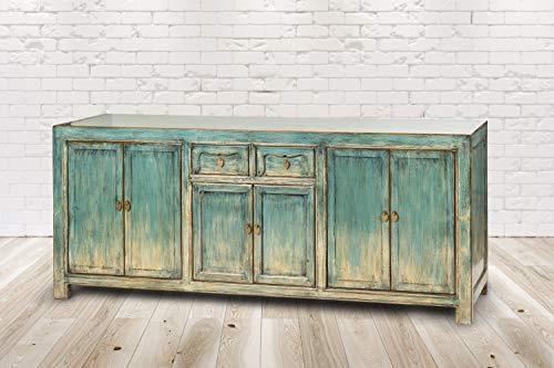 Trade-Line-Partner Almada - Cómoda (227 x 45 x 85 cm), diseño vintage, color azul