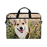 ZZAEO Happy Welsh Corgi Dog Laptop Shoulder Bag Stylish Briefcase Computer Bag with Shoulder Strap Fits for Most 13inch 14inch Laptops Case Sleeve