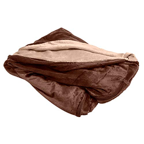Furhaven Pet Dog Bed Cover - Round Cuddle Nest Micro Velvet Snuggery Blanket Burrow Pet Bed Replacement Cover for Dogs and Cats, Espresso, 18-Inch