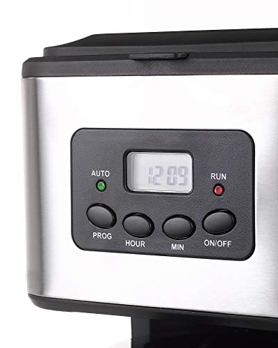Netta 1.5 litres Filter Coffee Machine, 12 Cup Programmable Coffee Makers, Clock/Timer Coffee Percolator, Anti-Drip System, Permanent Reusable Filter, Black/Brushed Steel