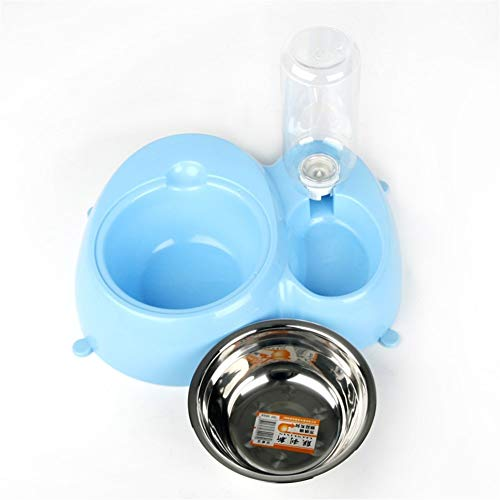 Hund und Katze Hundenapf Katzennapf Dog Pot Cat Bowl Automatischer Trinker Doppelhänge Bowl Pet Bowl Pet Supplies Für Zuhause (Color : Blue, Size : 30.5 * 26.5 * 7.5cm)