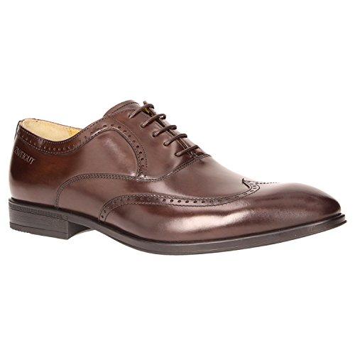 Zweigut® smuck #273 Herren Business Half Brogue Oxford Schuh Leder Sneaker-Komfort Bequemschuh, Schuhgröße:44, Farbe:Dunkelbraun