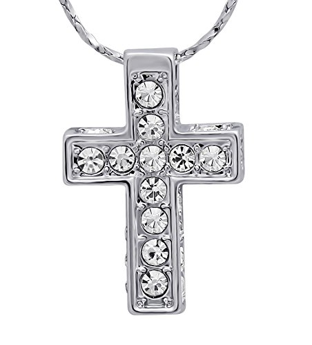 Hanessa, collana in argento platinato, Gesù Cristo, croce con strass, gioiello da donna, regalo di San Valentino per la moglie o la fidanzata