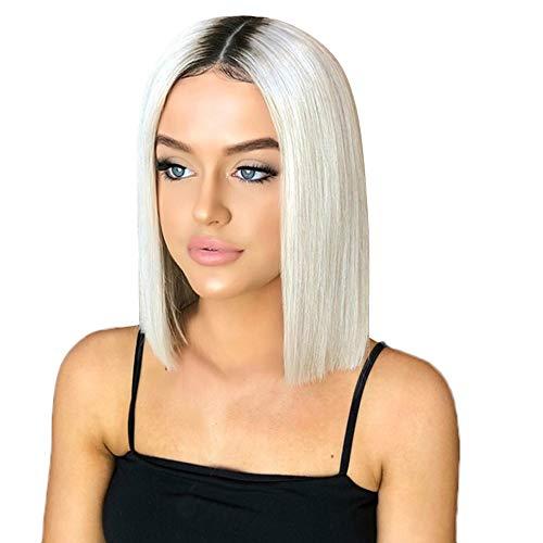Perruques Courtes Synthétiques Complètes Cheveux Femmes Ayant une Apparence Naturelle Chaleur Fibre Chimique Européennes et Américaines Soie Perruque BOBO Couleur Dégradée Sunenjoy