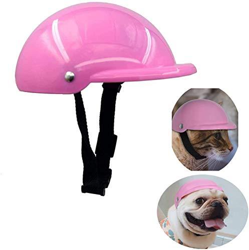 Pet Dog Helmet Cap Hat ABS Plastic Doggie Puppy Riding Motorcycles Bike Helmet Sun Rain Protection for Small Pet (S, Pink)