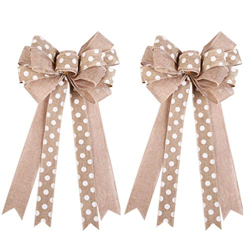 Amosfun 2pcs Christmas Burlap Bows Bowknot Christmas Tree Toppers Xmas Holiday Tree Decorations Ornaments