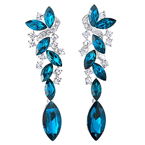 Turquesa Azul Arte Deco Boda Fiesta Rhinestones Marquise Cluster Chandelier Araña de Luces Statement Pendientes