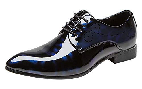 Formal Alligator Pattern Pointed Toe Lace Up Business Patent Leather Shoes for Men