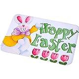 Simpatico coniglietto per Pasqua: lo zerbino Happy Easter è stampato con simpatici coniglietti e motivi floreali, vivaci e divertenti, aggiungendo una forte atmosfera festiva per Pasqua, la bella decorazione per la tua casa Dimensioni dello zerbino: ...