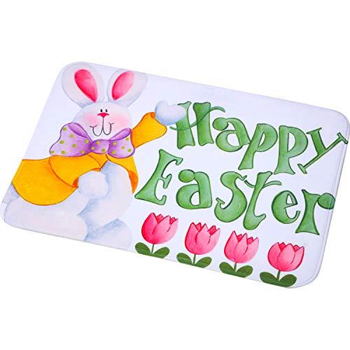Mudder Alfombra de Happy Easter Felpudo de Conejito de Primavera Felpudo de Pascua de Flores Alfombra de Puerta de Bienvenida de Pascua Interior Exterior, 23,6 x 15,7 Pulgadas