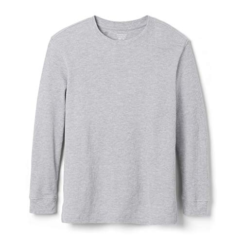 French Toast Boys' Long Sleeve Thermal Waffle Tee T-Shirt, Heather Gray, 3T