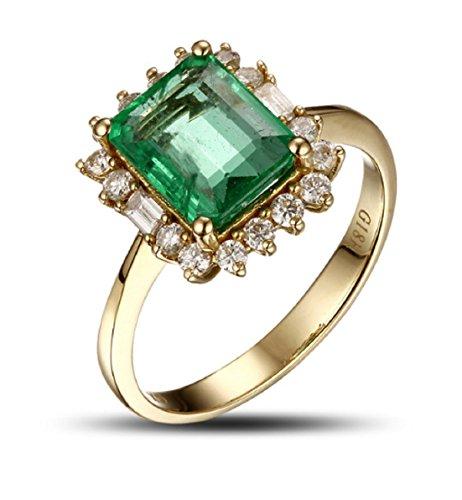 GOWE Anillo de compromiso de oro natural de 18 quilates de 2,47 quilates con diamantes de esmeralda colombiana