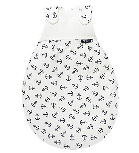 Set ALVI Baby Mäxchen Außensack Schlafsack mit Stoffwindel von Kinderhaus Blaubär/Ganzjahresschlafsack mitwachsend/Babyschlafsack ÖKO Tex geprüft, Größe:62/68, Design:Anker marine
