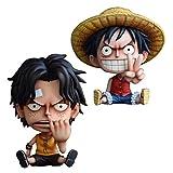 MNZBZ Anime Figures 2 Estilo One Piece Luffy Ace Q Niñez Sentado PVC Figuras de Acción OP Luffy Than Gesture Collectibles Modelo Juguetes 10cm-2pcs / Set