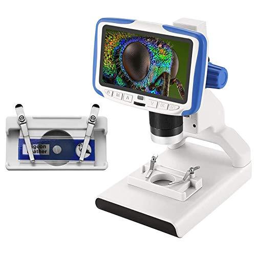 S SMAUTOP Microscopio Digital LCD, Lupa Digital LED portátil de 5 Pulgadas y 2mp con Escenario móvil y 8 Luces LED, para Regalo de niños y Principiantes