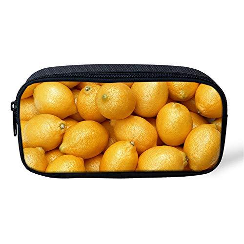 Estuche Escolar Limón Amarillo Fruta 3D Bolsa de Lápiz de Gran Capacidad Escuela Oficina adolescente niña chicas